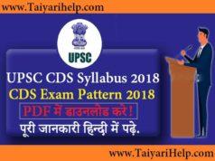 UPSC CDS Syllabus 2018