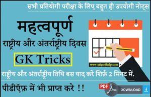 National International Days in Hindi PDF