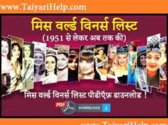 Miss World Winners List in Hindi PDF