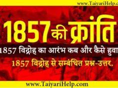 1857 Ki Kranti GK Question in Hindi