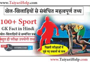 Important Sports GK Fact in Hindi PDF Download