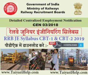 Railway JE Syllabus 2019 PDF in Hindi