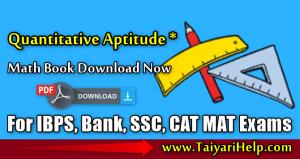 Quantitative Aptitude Math Book PDF for Bank, CAT, MAT Exams